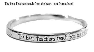 sentimental bangle The best Teachers teach from the heart - not from a book silver plated 1HXHIOr