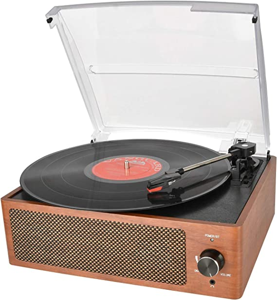 Bluetooth Record Player Belt-Driven 3-Speed Turntable