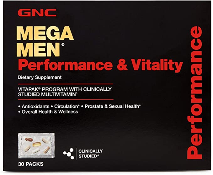 GNC Mega Men Performance and Vitality Daily Multivitamin Vitapak, 30 Count, Prostate & Sexual Health   Amazon