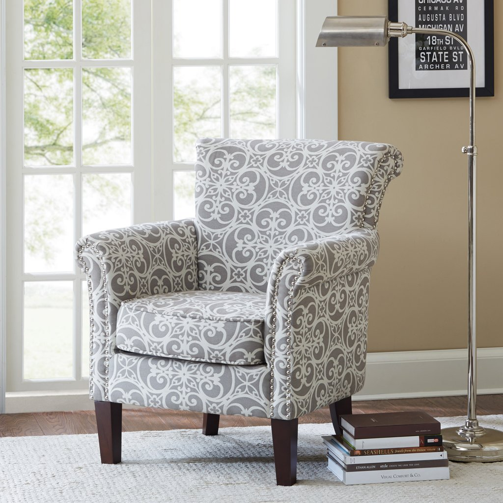 Amazon.com: Madison Park Brooke Chair in Doodles Ash, 29.25 x 30 x ...