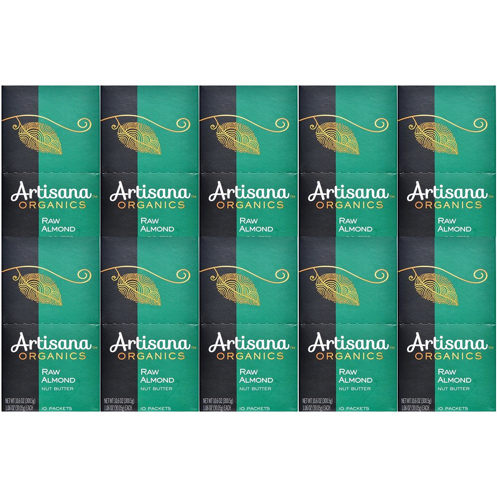 Artisana Organics - Almond Butter, Travel Snacks, no added sugar or oil, Certified organic, RAW, and non-GMO, grown and made in California (Pack of 10)