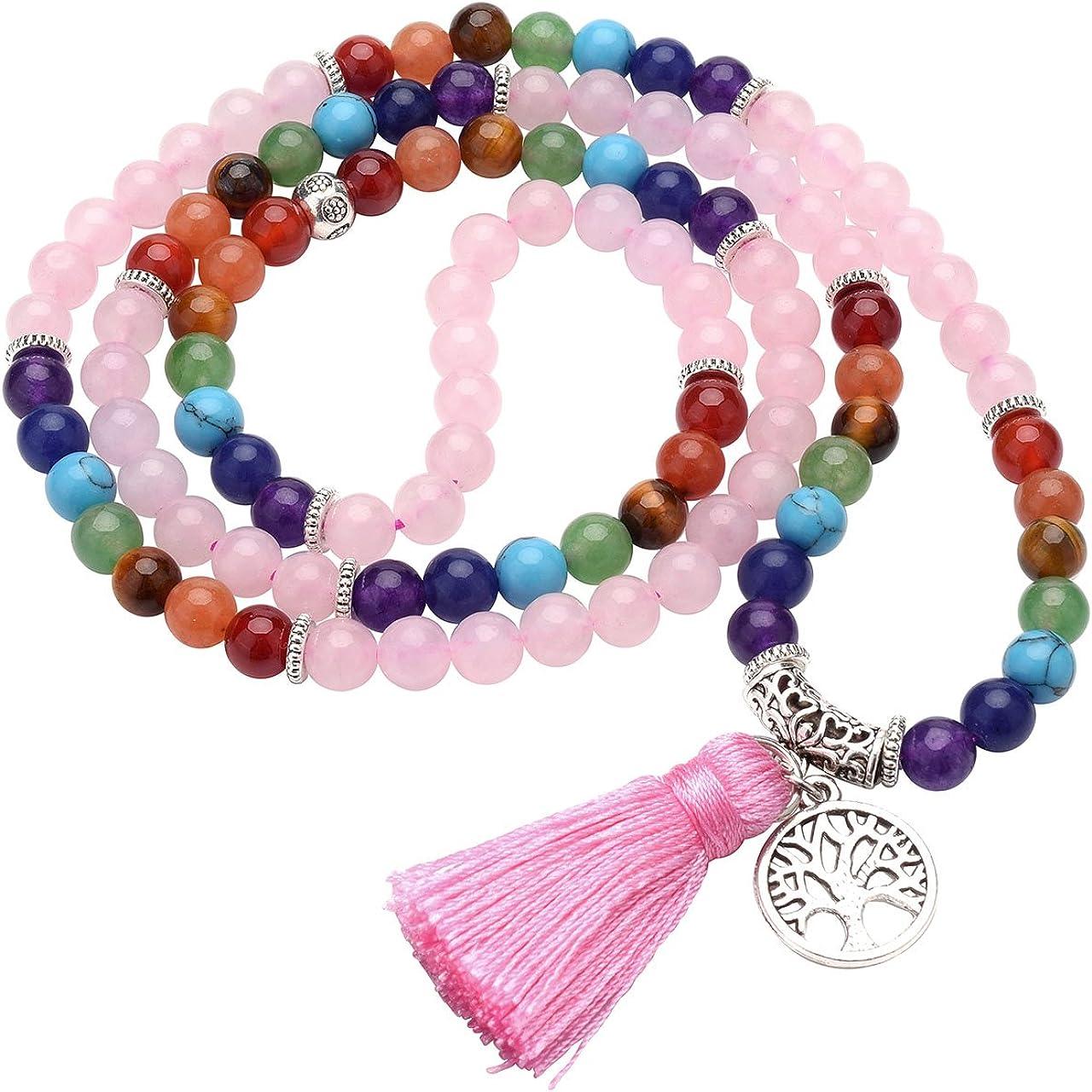 Jovivi Joyas Piedras Natural Collar Pulsera Retro Tibetano Buda India Ágata Mala Recuperación Energía Terapia Rezando Yoga 7Chakra Pulsera elástica–Árbol de la Vida