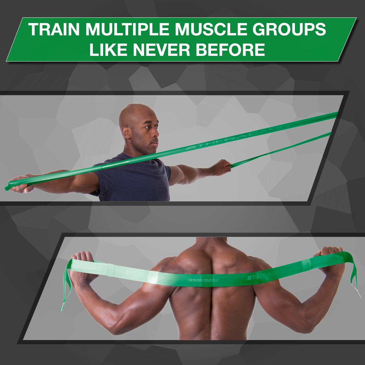 TheraBand CLX Resistance Band with Loops, Fitness Band for Home Exercise and Full Body Workouts, Portable Gym Equipment, Gift for Athletes, Individual 5 Foot Band, Green, Heavy, Intermediate Level 1 by TheraBand (Image #3)