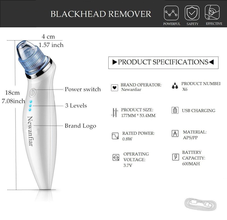 Goodsky Limpiador eléctrico de puntos negros y espinillas, portátil, - para la belleza y el cuidado de la piel / 5 cabezales intercambiables / carga de USB (color blanco)