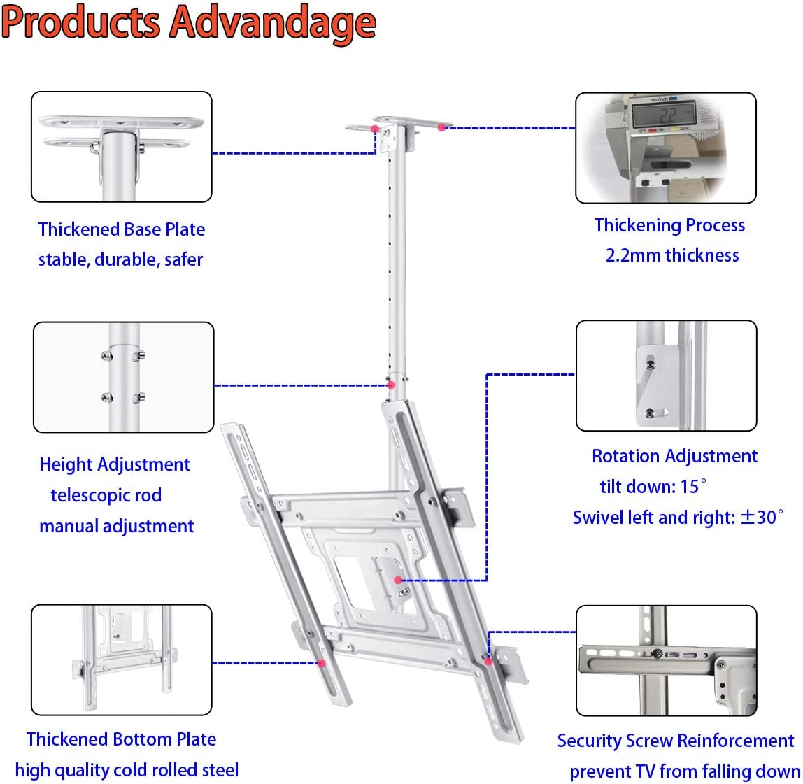 JXMTSPW TV Ceiling Mount White Monitor Wall Bracket Most 32-60 inch Flat Curved Screen Display Adjustable Height Tilt Swivel Full Motion Fit 39
