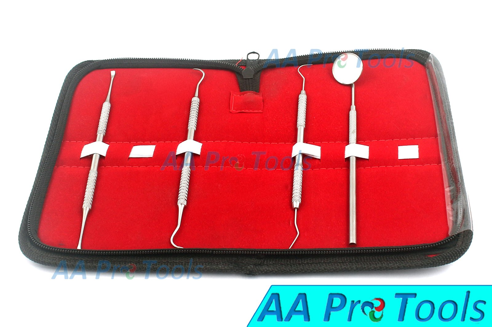 AA PRO PROFESSIONAL STAINLESS STEEL DENTAL TOOL KIT INCLUDES DENTIST INSTRUMENTS IN PROTECTIVE LEATHER CASE - MULTI-PURPOSE TOOLS A+ QUALITY