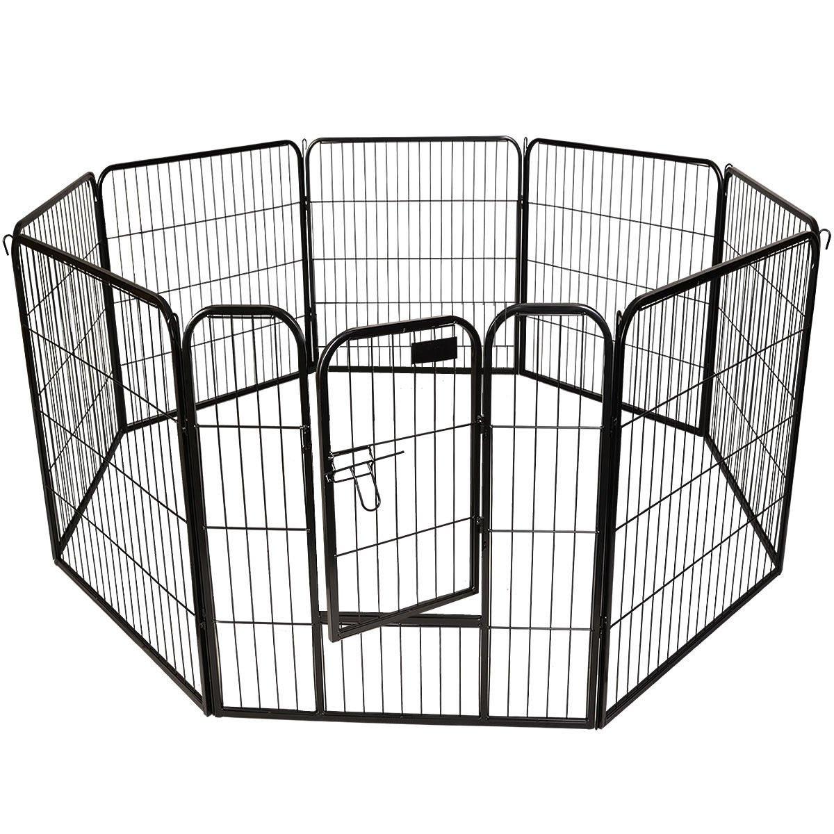 32''- 8 Panel Heavy Duty Pet Dog Cat Playpen Exercise Fence Black by EGO BIKE