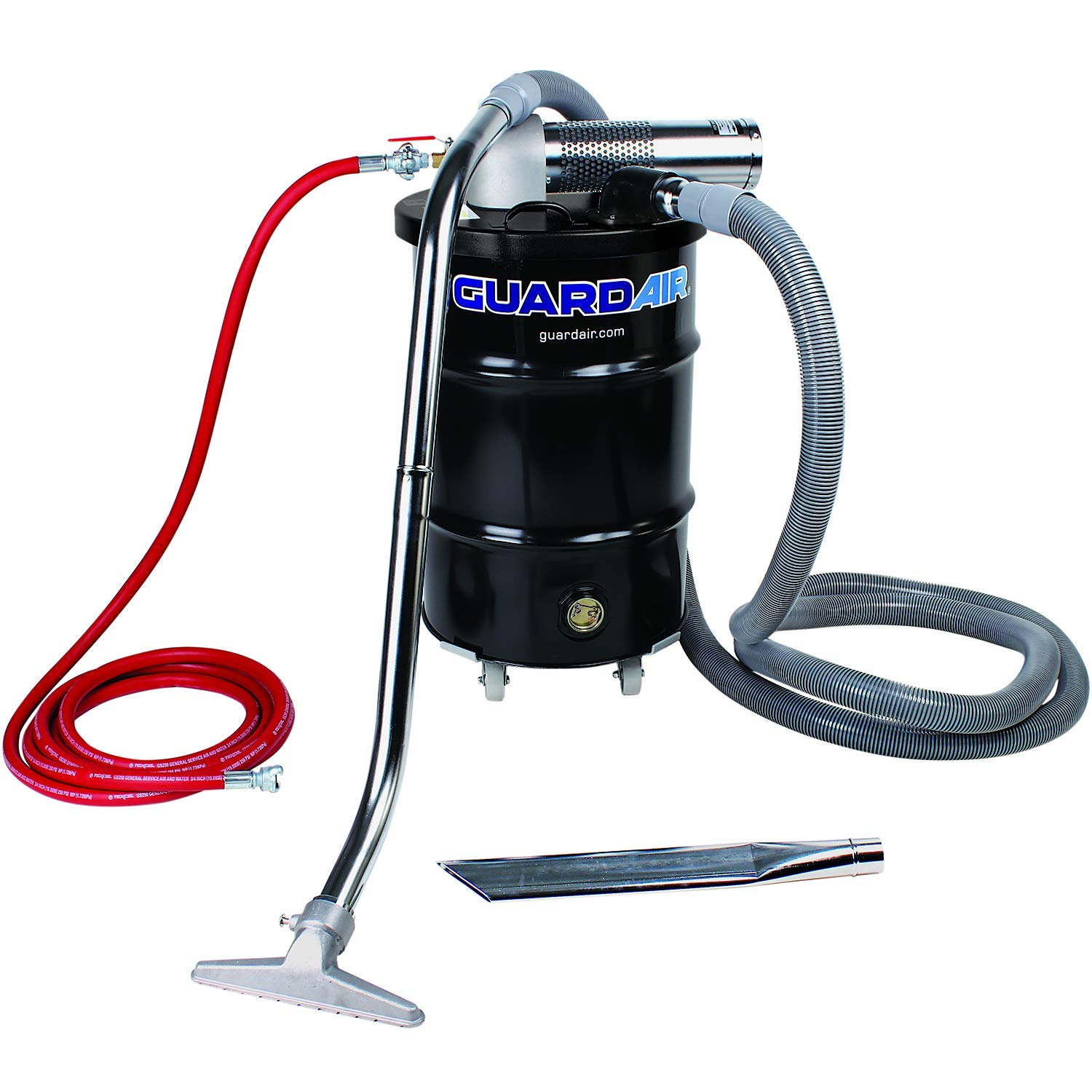 Guardair Pneumatic Vacuum N301BC 30 Gallon Drum Complete Kit with B Venturi Head, 2-Inch Inlet, Hose and Tools