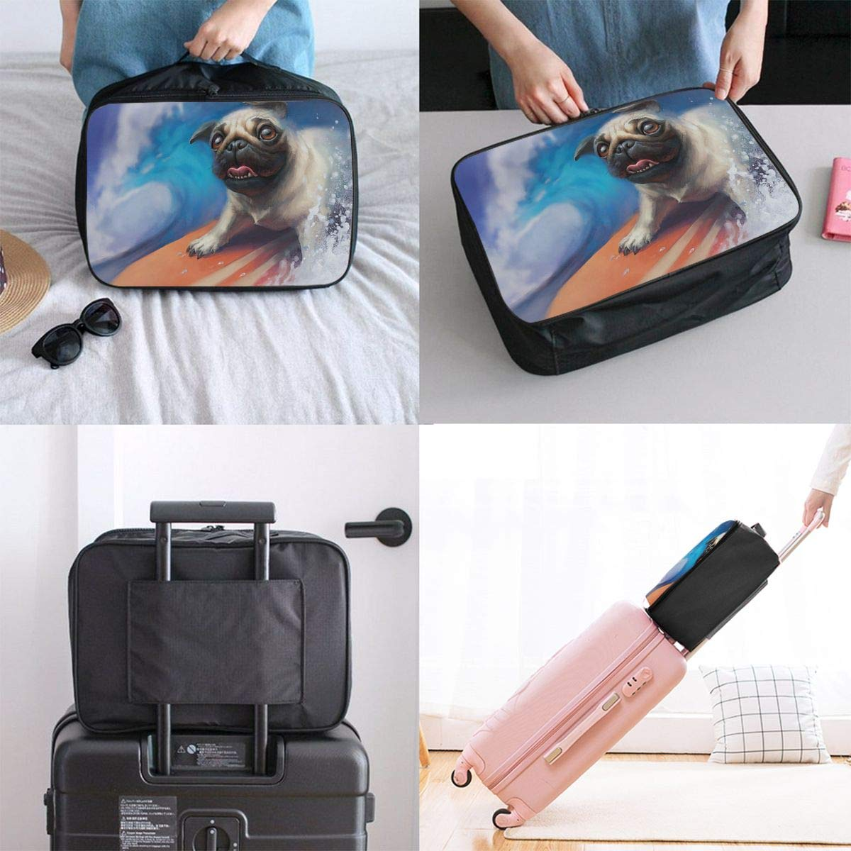 Travel Luggage Duffle Bag Lightweight Portable Handbag Surfing Dog Print Large Capacity Waterproof Foldable Storage Tote