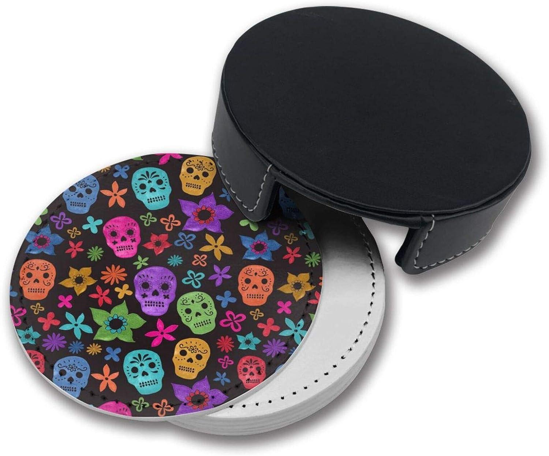 Juego de posavasos con dise/ño de calavera mexicana con soporte OUYouDeFangA 6 unidades tazas redondas y almohadilla para bebidas apto para el hogar y la cocina