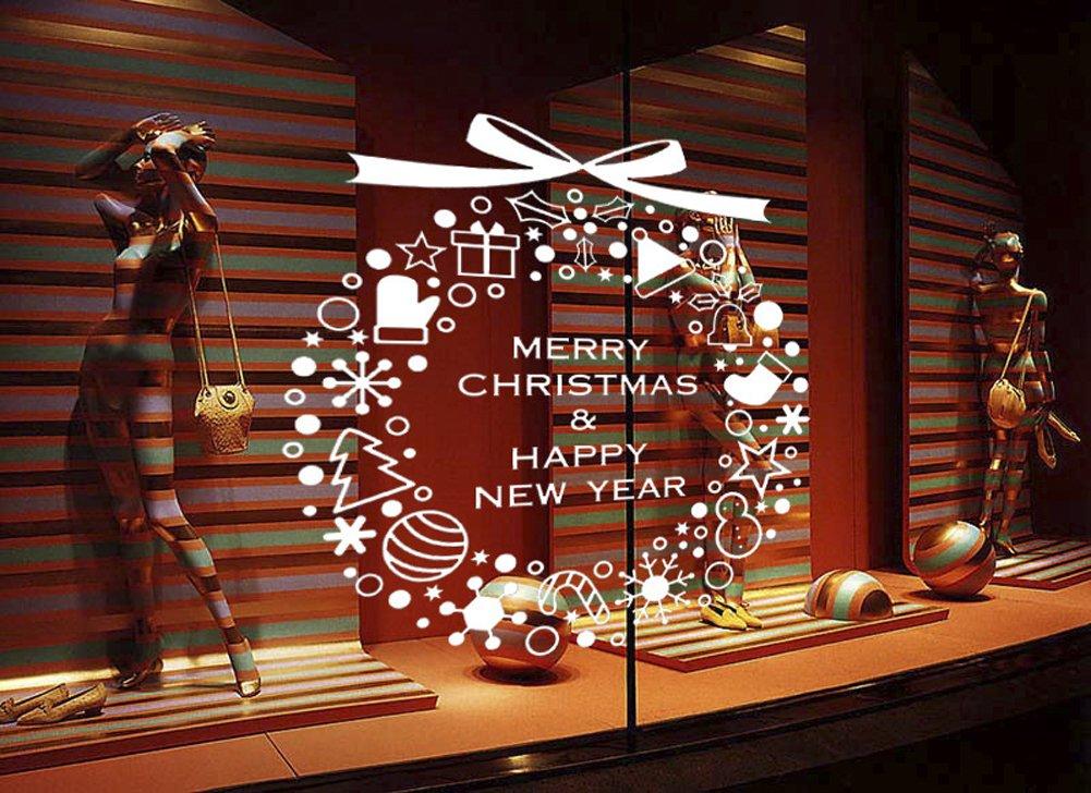 CHEZMAX DIY Merry Christmasウォールステッカー休日装飾ウィンドウデカール取り外し可能 White ホワイト CM-AW-M-30-baise B01N7F6CKW White パターン6 パターン6 White