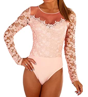 a67d4c4cbe40 Milliwin Sexy Bodysuit Shaper Crochet Women Black Glam Mesh Long Sleeve  Floral Lace Apricot S