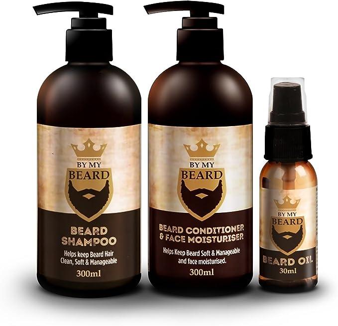 Paquete completo de productos By my Beard con champú y acondicionador para barba y aceite hidratante facial: Amazon.es: Belleza