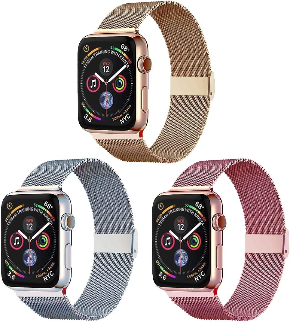 Pigetfy 3 Pack Compatible for Apple Watch Band 40mm 44mm Series 6, 5,4,3, 2,1,SE,and Metal Wristband for Iwatch 38mm 42mm (Gold+Silver+Rose Gold, 38mm/40mm)