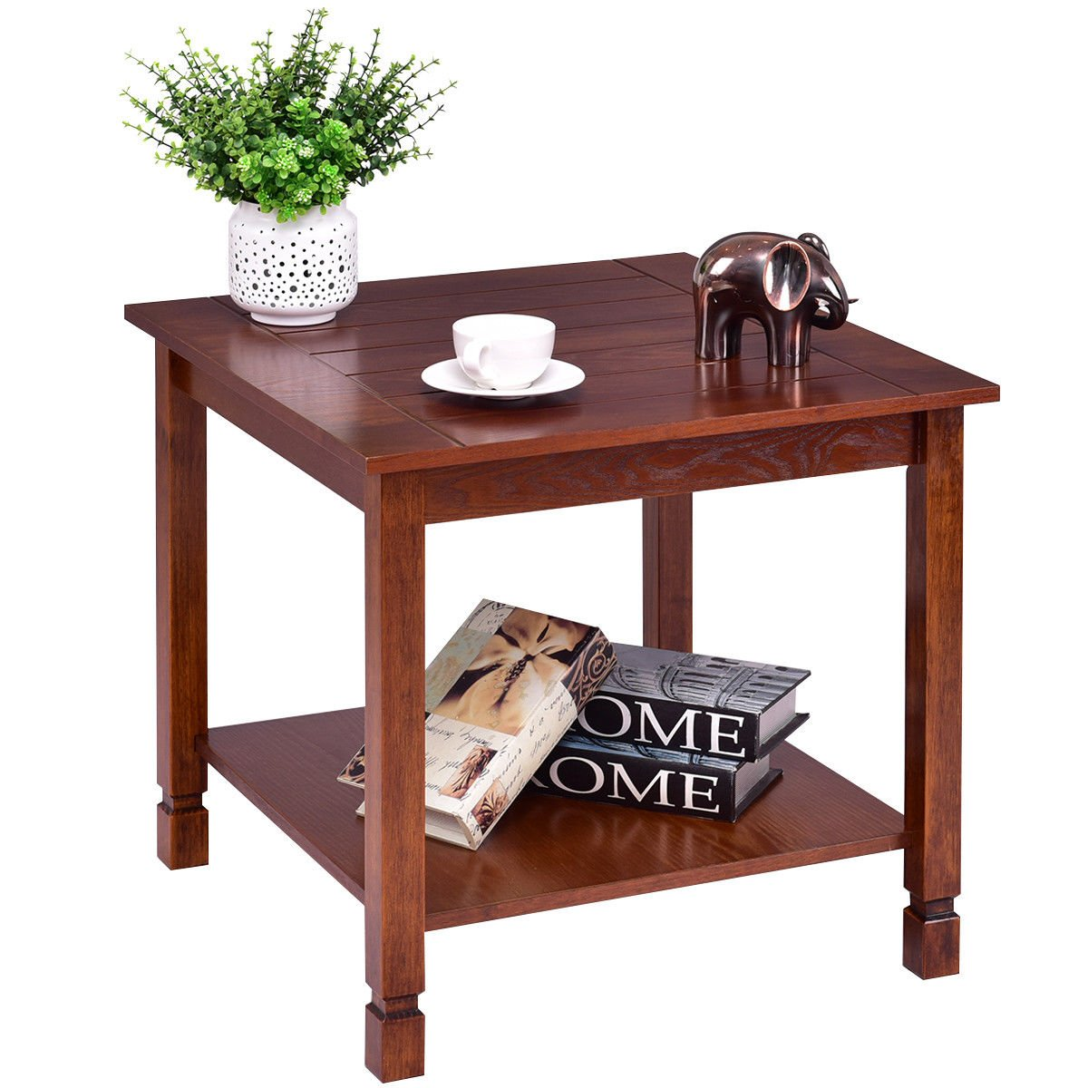 Giantex Pine Wood End Table with Shelf, 2-Tier Side Table with Storage Bedside Sofa Table for Living Room, Bedroom, Solid Sturcture Eco-Friendly Material Espresso Coffee Table Nightstand (Walnut)