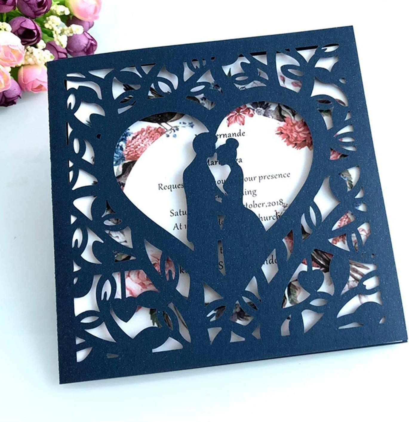50pcs Blue White Gold Red Hollow Heart Marriage Wedding Invitations Card Greeting Card Print Postcard Party Supplies,One Set Gold