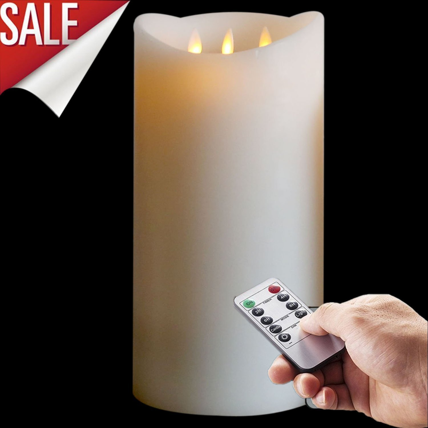 Milumilu 12 Inch Wax Candle,moving Wick Flameless 3-wick Candle,ivory