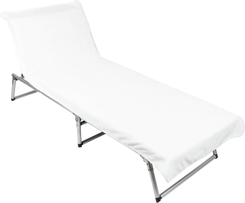 ZOLLNER Toalla para Tumbona de Playa y jardín, algodón, Blanca