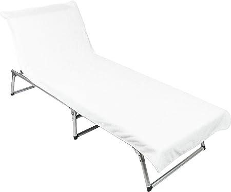 ZOLLNER Toalla para Tumbona de Playa y jardín, algodón, Blanca: Amazon.es: Hogar