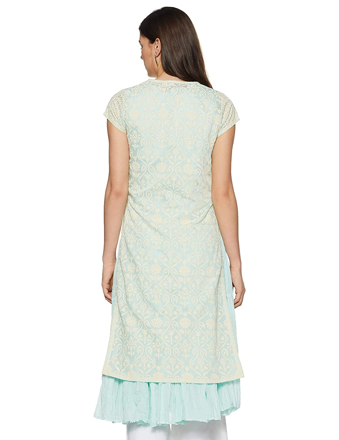Aqua Blue Synthetic Anarkali Kurta