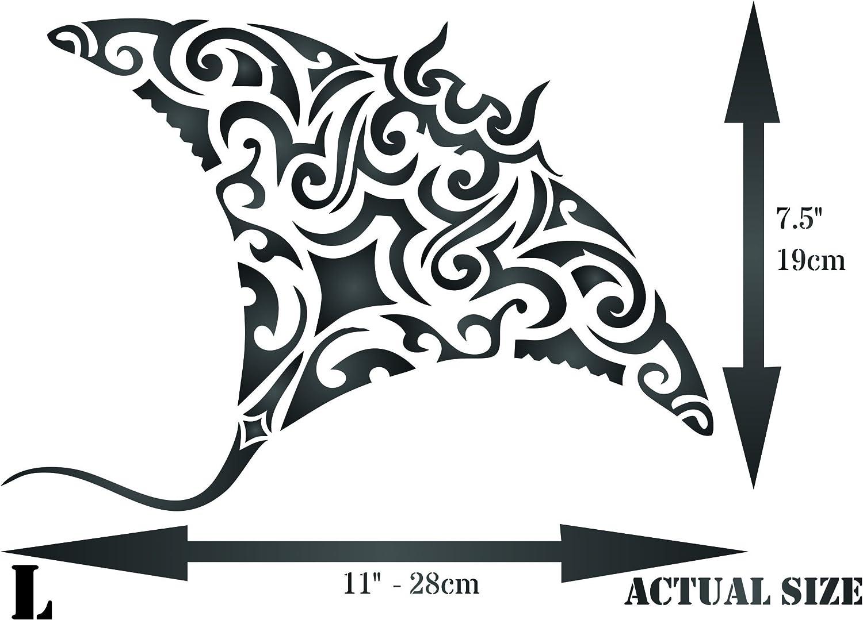 Manta Ray Stencil - Plantilla de pared para tatuaje tribal de ...