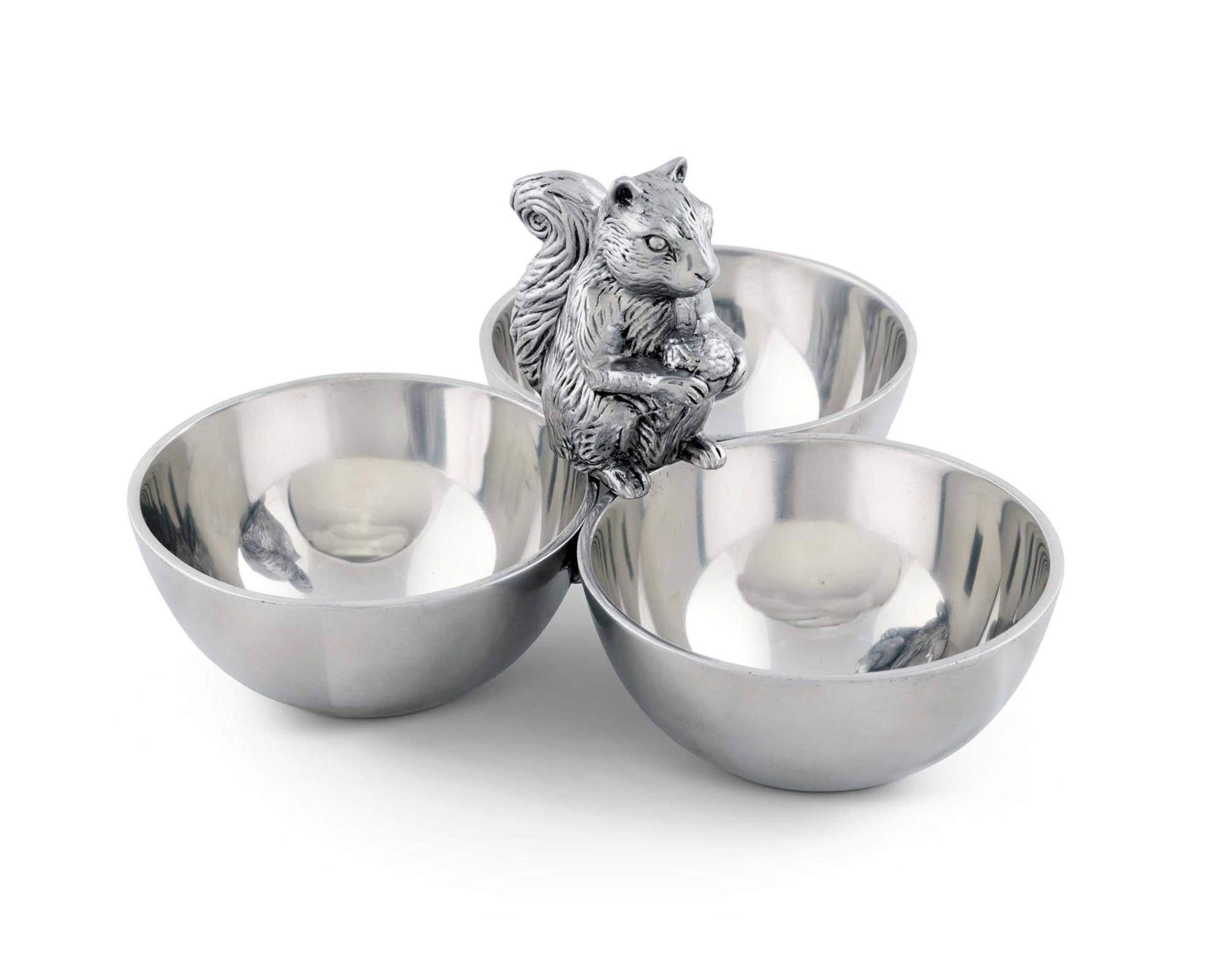Arthur Court Squirrel 3 Bowl Nut/Snacks/Candy Ensemble - Cast Aluminum Hand Polished 6'' x 9'' x 9''