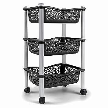Carrellita almacenadora para cocina con canastas y ruedas Estante para frutas y vegetales - Plastico de uso Rudo - Negro: Amazon.es: Hogar
