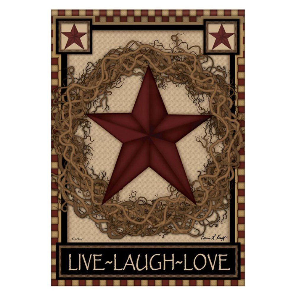 Amazon.com: Country Primitive Barn Star Wreath Live Laugh Love Double Sided Garden  Flag: Home U0026 Kitchen