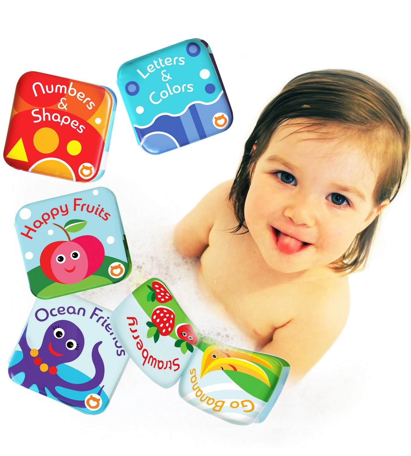 Floating Baby Bath Books Pack of 4 by Baby Bibi. Baby Book Set: Fruit Books for Children, Alphabet & Numbers Books, Bath Toys for Toddlers with Sea Creatures. 4 Bath Tub Books for Toddlers Waterproof. Boxiki