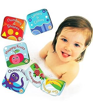 Pack De 4 Livres De Bain Flottants Par Baby Bibi Livres De Fruits Pour Enfants Livres D Alphabet Et De Chiffres Jouets Pour Le Bain Pour Bebes Avec
