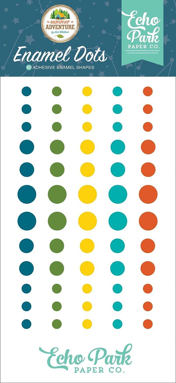 Teal Echo Park Paper Company SA180028 Summer Adventure Enamel dots Navy red Green Brown Orange