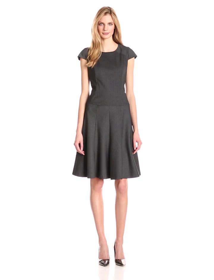 Anne Klein Women's Cap Sleeve Pinstripe Fit and Flare Dress, Grey/Purple, 12
