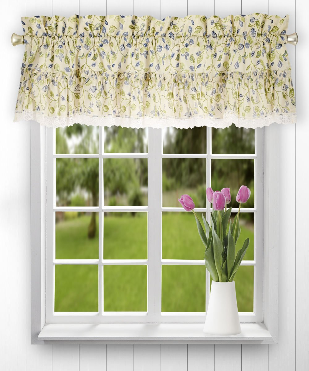 Ellis Curtain Clarice 52-by-12 Inch Ruffled Valance, Blue A.L. Ellis Curtain 730462121332