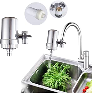 Water Faucet Filter System, 304 Stainless Steel housing Faucet Water Purifier, Upgraded Tap Water Mount Filter, to Improve Hard Water for Home Kitchen。