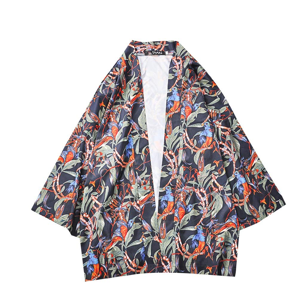 SKYLULU✿✿Fashion Retro Shirt Tops Lovers Individuality Print Top Blouse Kimono Hot Spring Clothing