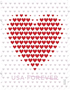 Made of Hearts Sheet of 20 Forever First Class Postage Stamps Wedding Celebration Love Valentines (5 Sheets of 20)