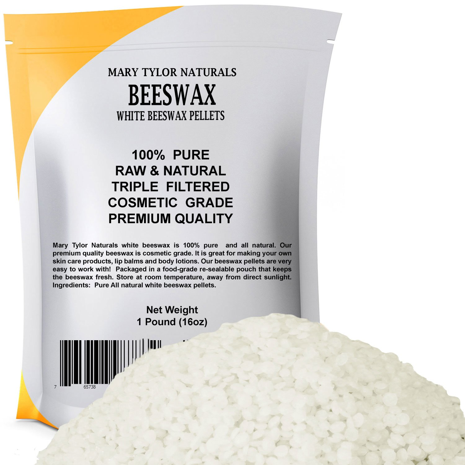 White Beeswax Pellets 1lb (16 oz) by Mary Tylor Naturals, Premium Quality, Cosmetic Grade, Triple Filtered Bees Wax Pastilles Great for DIY Lip Balm Recipes Body Creams Lotions Deodorants