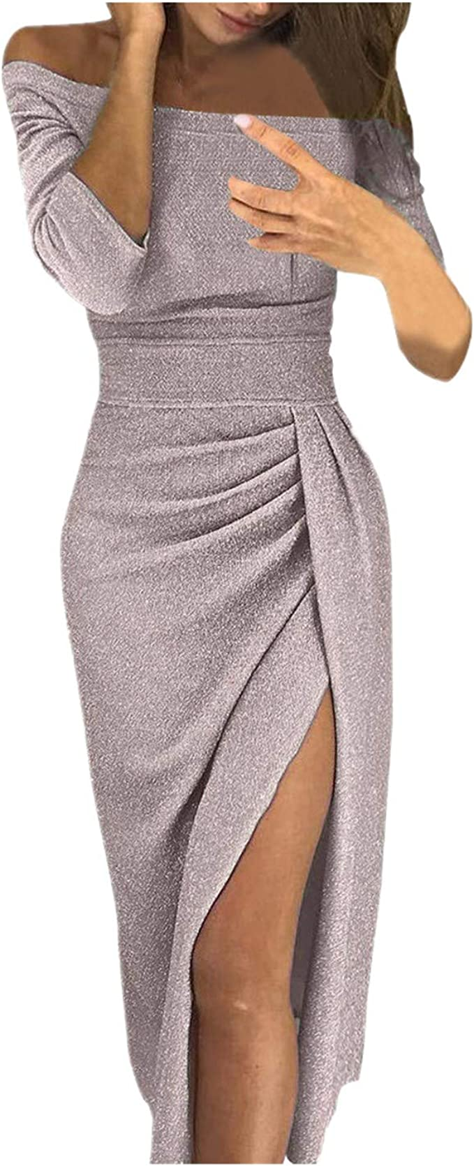 Fiyote Damen Abendkeider Hochzeit Festlich Kleider Cocktailkleider Mit Schlitz Maxikleider Glanzend Partykleider 3 Farbe S M L Xl Bekleidung Kleider Spartan Accesorios Net