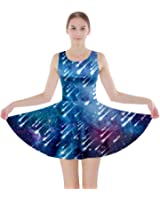 CowCow Womens Mrs Frizzle Fun Night Sky Moon Stars Space Skater Dress