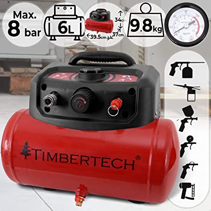 Compresor De Aire | Portátil, Sin Lubricación Con Aceite, Presión De Trabajo 8 Bar, Volumen 6 Litros, Velocidad 3750 rpm, Rojo | Objetos hinchables