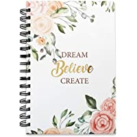 The positive store | Floral Design Dream Believe Create Daily Planner for Time Management Undated Law of Attraction Journal with Hardcover | 200 Pages (90 Days Planner) | 80 GSM Paper