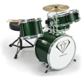 New Childrens 4 Piece Green Diamond Drum Kit Set Musical Instrument Kids Sticks, Stool