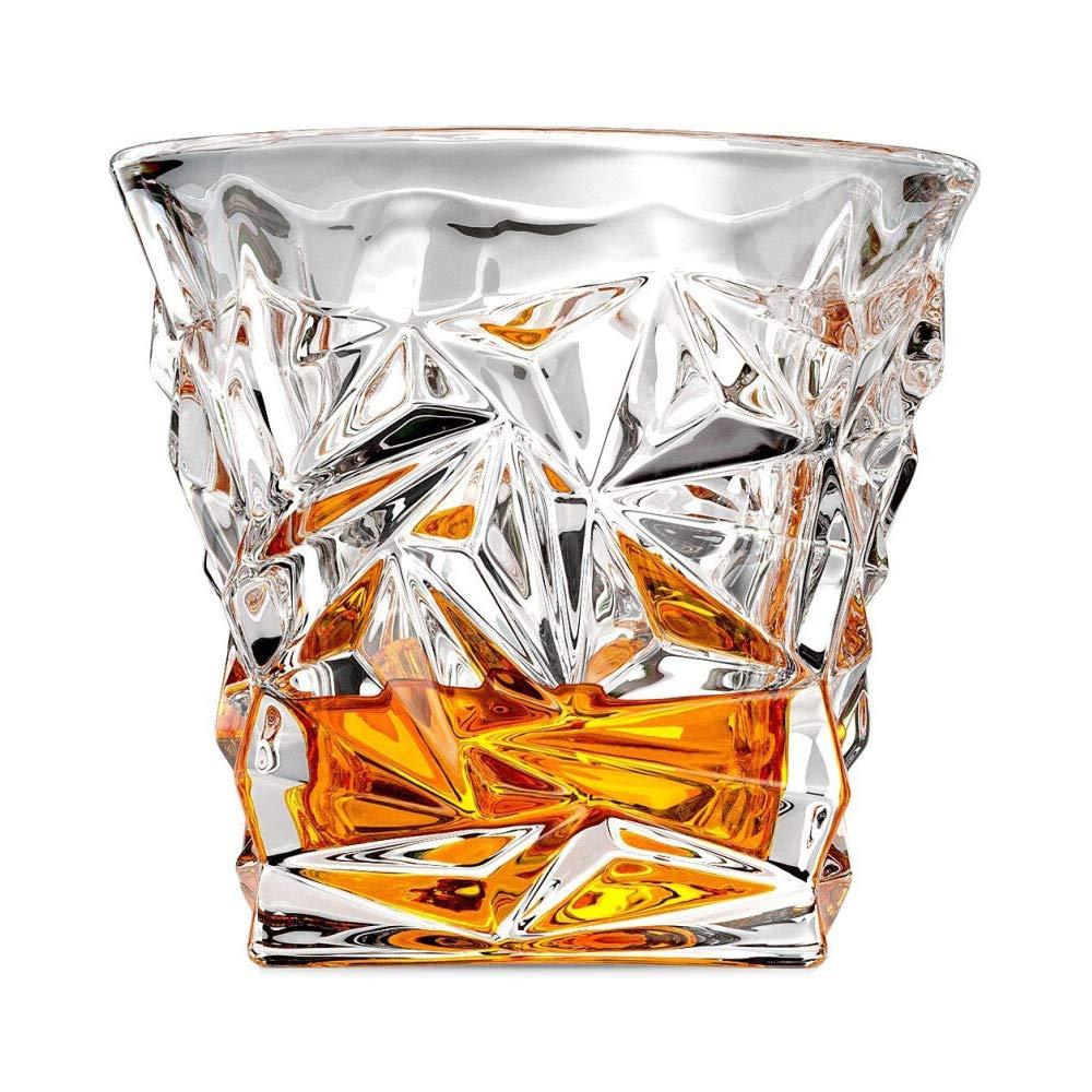 ダイヤモンドカットウイスキーグラス 6個セット ヘビーベース モダン 鉛フリー ドリンクグラス グラス グラス 酒 ブランディ スコッチ バーボン水 ジュース ビール用 10オンス Diamond Cut クリア SC-BH6C B07KVJ7399  Diamond Cut