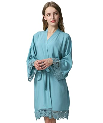 a4d3cd2666708 Owiter Women Cotton Lace Robe Bridesmaid Robes Wedding Robe Bridal Bride  Robe (Dusty Green