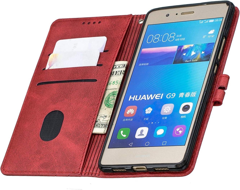 LOHEX120324 Amarillo Funda de Cuero con Tapa Ranuras Tarjetas Soporte Plegable Antigolpes Carcasa Case para Huawei P9Lite Lomogo Funda Cartera Huawei P9 Lite 2016