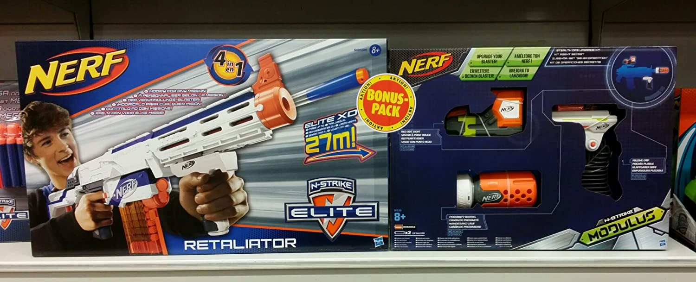 2er Set: Hasbro Nerf 98696E35 - N-Strike Elite Retaliator, Spielzeugblaster + Hasbro Nerf B1535EU4 - N-Strike Elite Modulus Zubehör-Set Geheimoperation