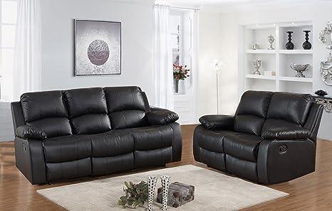Juego de sofás reclinable de piel de 3 + 2 plazas, negro de ...