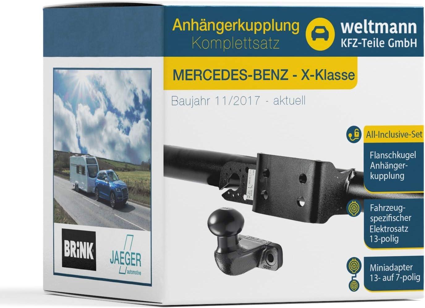 Weltmann 7D500484 - Enganche de remolque rígido con bola de brida y juego eléctrico de 13 polos para Mercedes Benz Clase X W 470