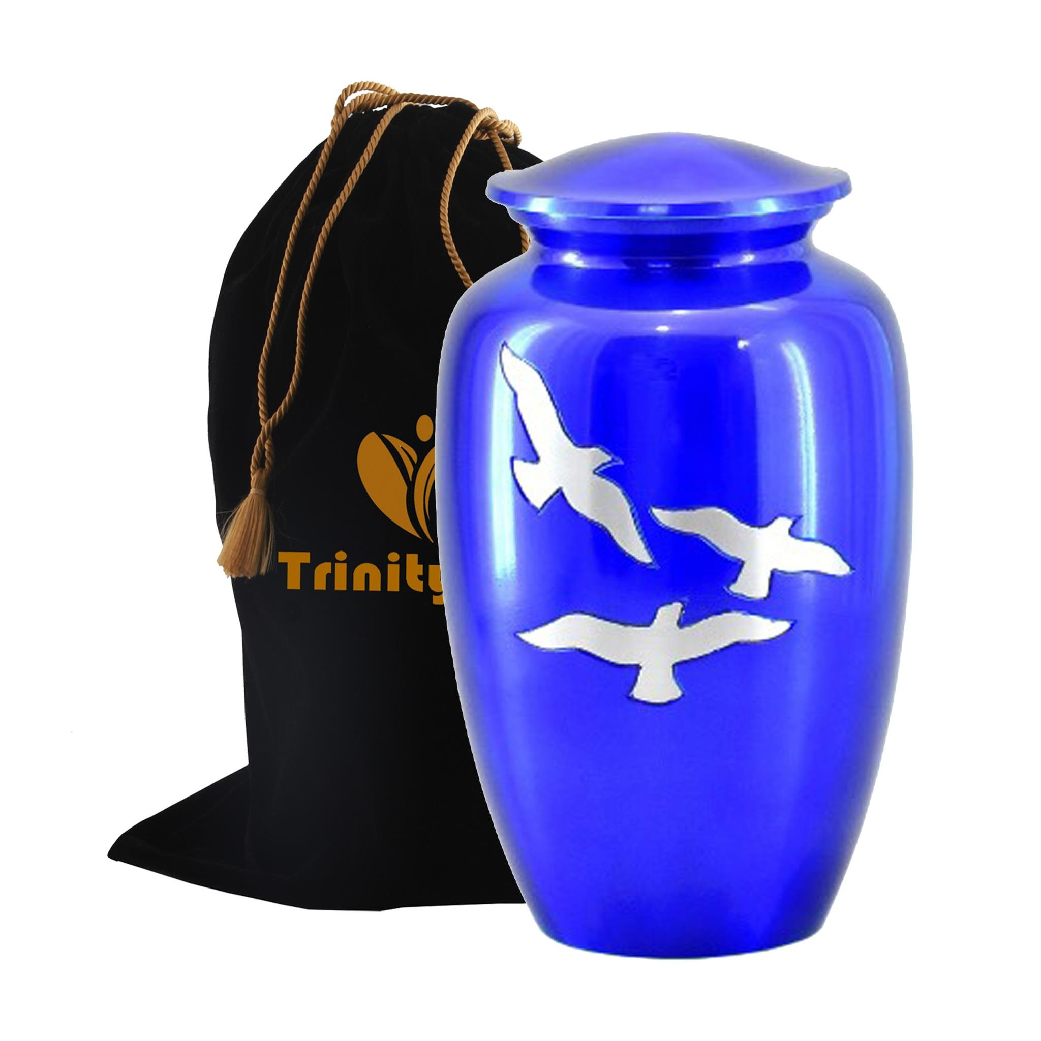 Flying Dove Cremation Urn - Beautifully Handcrafted Adult Funeral Urn - Solid Metal Funeral Urn - Affordable Urn for Human Ashes with Free Velvet Bag