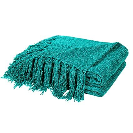 Bon DOZZZ Summer Chenille Couch Throw With Decorative Fringe Lightweight Cover  For Sofa Chair Bed Furniture Teal